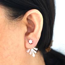 Silver Flower Lotus Ear Jacket Stud Earring - $25.00