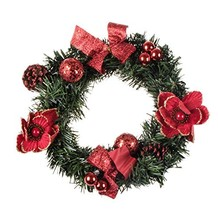 Artificial Christmas Wreath with Pine Cones and Red Ornaments by Clever ... - $21.53