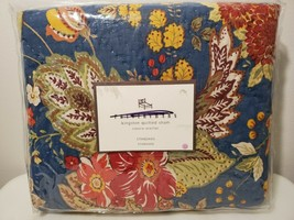 NEW Pottery Barn Kingston Quilted Navy Floral Cotton Sham Size: Standard 50x60 - $14.03