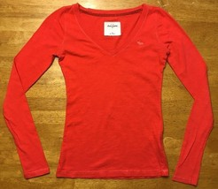 Abercrombie Kids Girl's Red Long Sleeve V-Neck Shirt - Size: Medium - $14.84