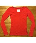 Abercrombie Kids Girl's Red Long Sleeve V-Neck Shirt - Size: Medium - $14.84