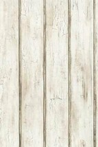 Bead Board Barn Siding Wallcovering Faux Distressed Wood York Wallpaper ... - $42.99