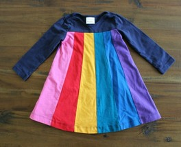 Hanna Andersson 85 CM 2T Rainbow Dress Colorblock Navy Swing - $29.67
