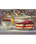 Tea Party Time PORCELAIN CUP cheesecake Sauce boat Painting MODERN POSTCARD - $1.30