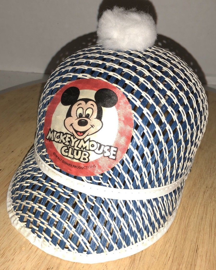 b05e89086b7 S l1600. S l1600. Previous. Vintage MICKEY MOUSE CLUB 60s 70s Hat Pom Pom  Woven WALT DISNEY PRODUCTIONS RARE