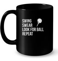 Swing Swear Look For Ball Repeat Fun Golf Distressed Gift Coffee Mug - $13.99+