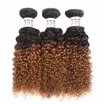 Baiermei 8A Jerry Curl Human Hair Bundles Ombre Brown Kinky Curly Hair 3 Bundle  - $129.06