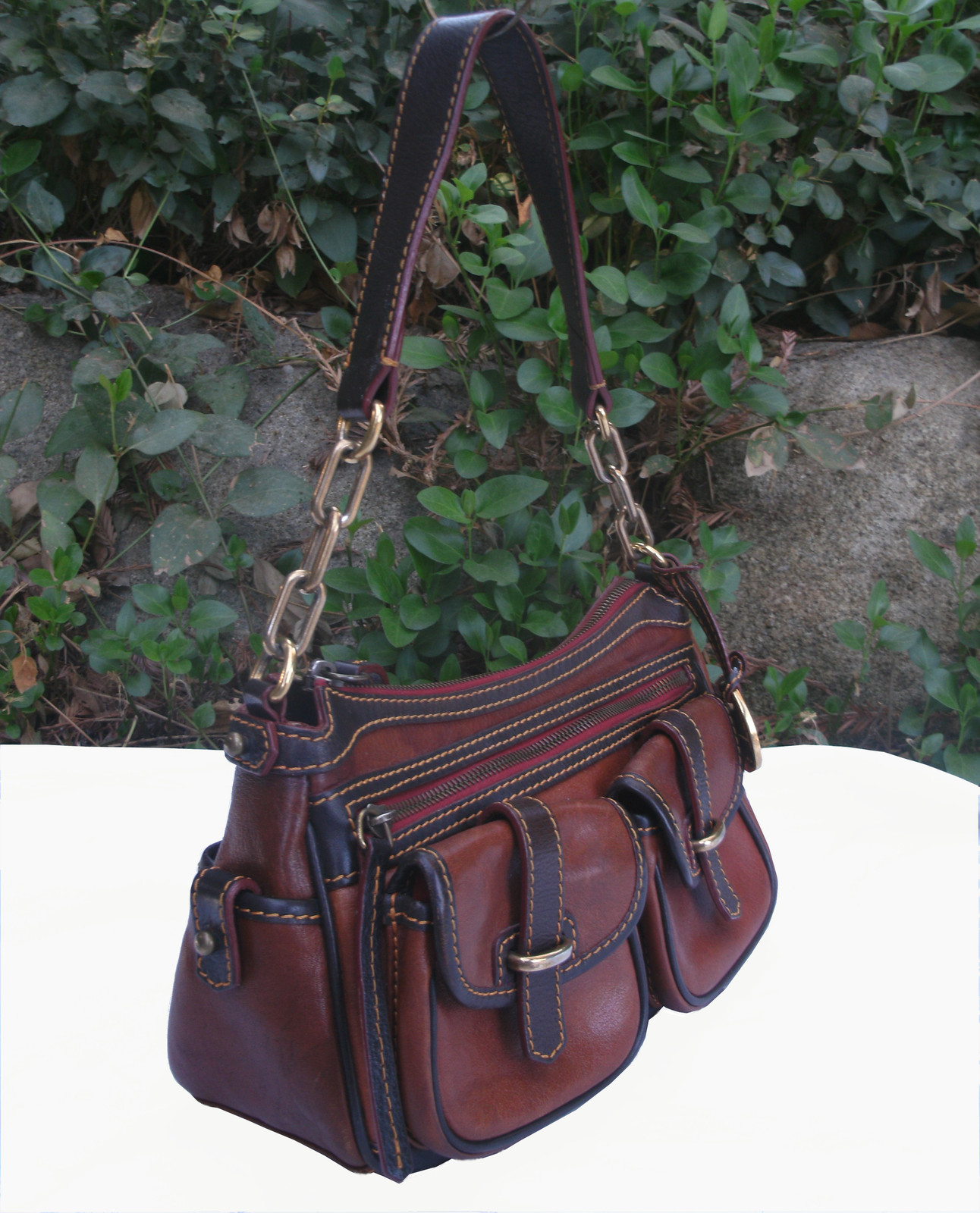 Dooney & Bourke Saddle Tan Brown Red Leather Pocket Hobo Brass Duck Charm DS455 image 6