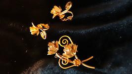 Vintage Navette Rhinestone Topaz Demi Parure Brooch and Clip Back Earrings - $45.00