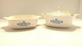 Vintage 3pc Corningware Cornflower Blue 1 Qt, 1 1/2 Qt with 1 Lid - $35.59