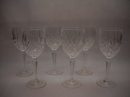 VINTAGE Pressed LEADED GLASS Water GOLBETS Set of 6 Diamond 3 LEAF Pattern - $59.39