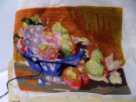 Needlepoint Canvas BOWL OF FRUIT Preworked 11 x 14 finished  60% vintage - $22.80
