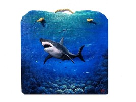 Great White Shark hand painted Slate Painting animal marine life wall art - $72.91 CAD
