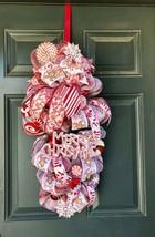 Candy cane wreath, Christmas Swag, christmas wreath, whimsical wreath, C... - $102.49