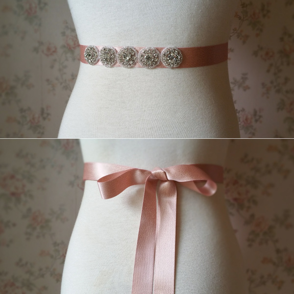 Handmade Blush Bridal Sash, Wedding Accessories, Rhinestone Sash, 2017 Wedding