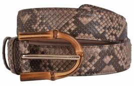New Gucci Women's 322957 Camel Brown Python Snakeskin Bamboo Buckle Belt... - $256.72