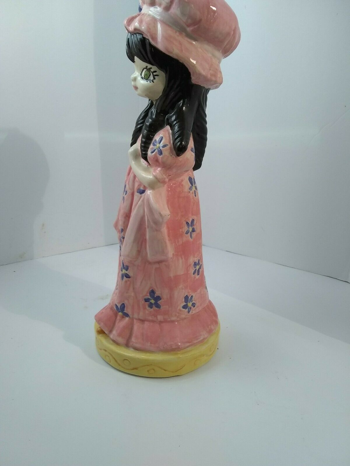 Vintage Hand painted Big Eyed Girl in Bonnet with Green Eyes & Black Hair 11.5""