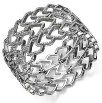 INC International Concepts SilverTone Crystal Pave Heart Wide Stretch Bracelet
