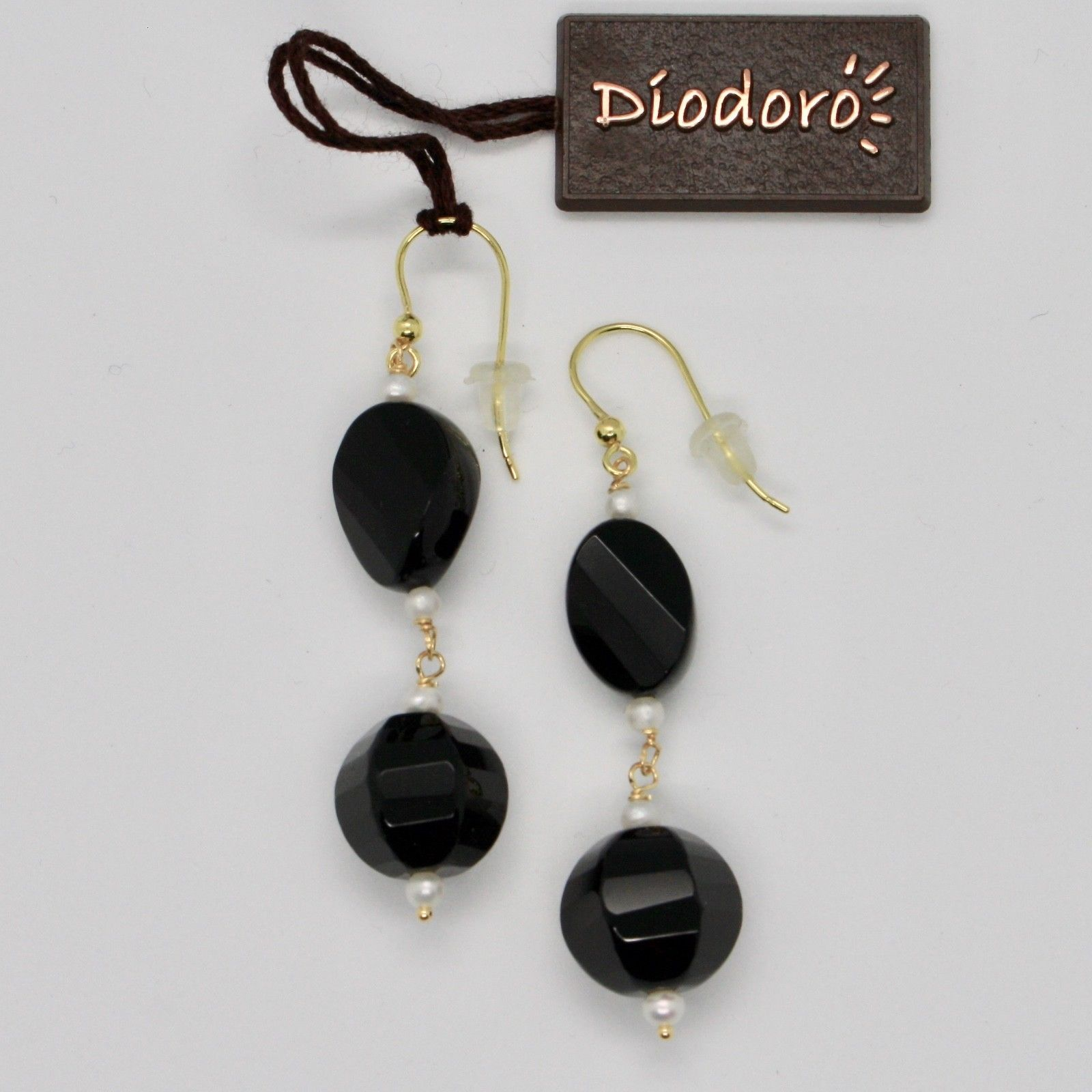 SOLID 18K YELLOW GOLD EARRINGS WITH WHITE FW PEARLS AND BLACK ONYX MADE IN ITALY