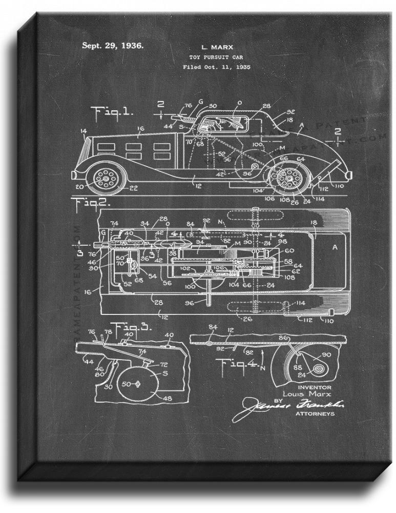 Primary image for Toy Pursuit Car Patent Print Chalkboard on Canvas