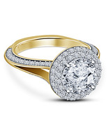 Princess Womens Engagement Ring 14k Yellow Gold Finish 925 Solid Silver - £57.85 GBP