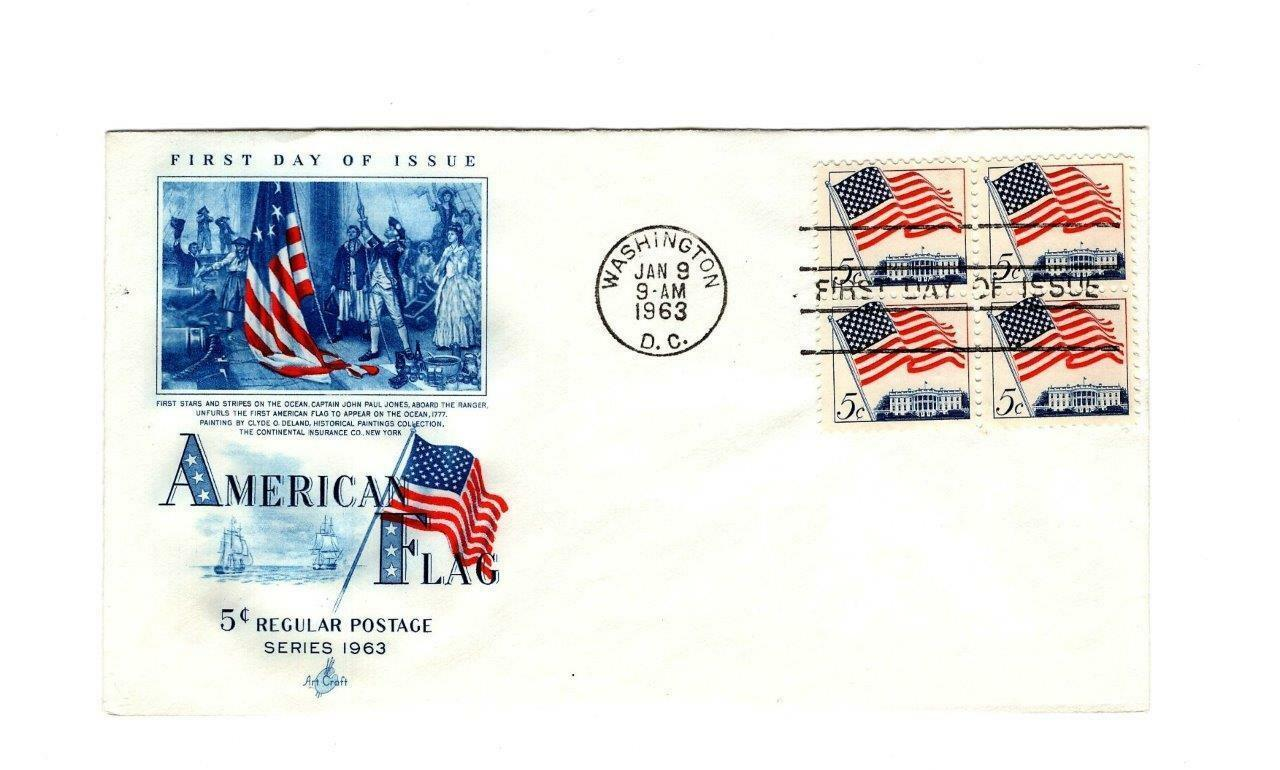 FDC ENVELOPE- 5c AMERICAN FLAG REGULAR POSTAGE  4BL-1963 ART CRAFT CACHET BK12