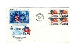 FDC ENVELOPE- 5c AMERICAN FLAG REGULAR POSTAGE  4BL-1963 ART CRAFT CACHE... - $1.47