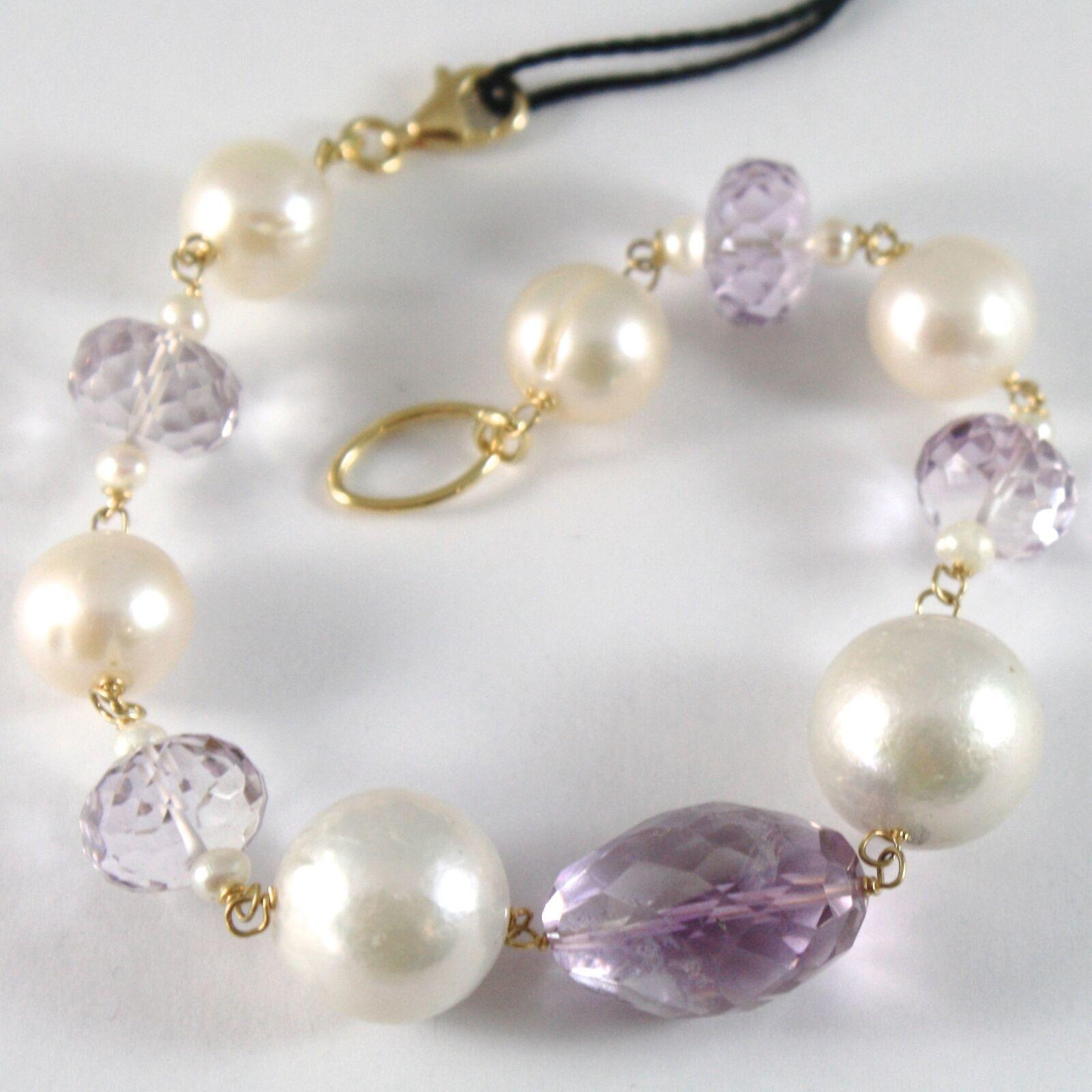 Armband Gelbgold 750 18K, Groß Perlen Weiß 14 mm, Amethyst Violet