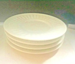 Majesticware White Athena 4 Saucers Bread & Butter Embossed Porcelain Ch... - £7.66 GBP