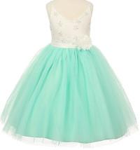 Flower Girl Dress V Neck Two Tone Lace Top Tulle Skirt Mint TR 1033 - $53.45+