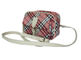 Auth BURBERRY BLUE LABEL Nylon Canvas Leather Red Cross-body Shoulder Ba... - $169.00