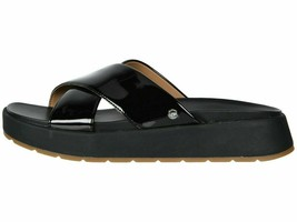 UGG EMILY Black Women's Patent Leather Cross Slide Sandals 1107896 - $89.00