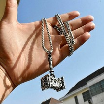 Animal 316l Stainless Viking Norse Odin Hammer Men From Quake Necklace P... - $14.99