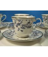 Royal Doulton Sapphire Blossom Cup & Saucer Sets bundle of 5 EUC - $34.30