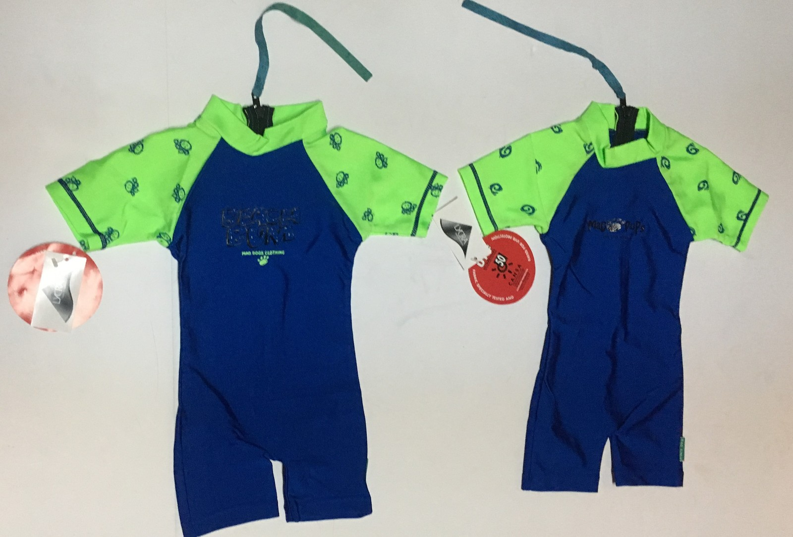 Infant One Piece Swimsuit Lycra 50 UPF 6-12 Months Blue & Green Variety Features