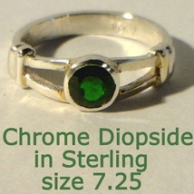 Green Chrome Diopside Gemstone Handmade Sterling Silver Ladies Ring size... - $75.05