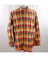Orvis Orange Plaid Long Sleeve Button Front Shirt Mens Sz L - $29.02