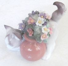 "1998 Retired Lladró "" Secret Spot"" Porcelain Cat With Flower Pot Figurin... - $280.00"
