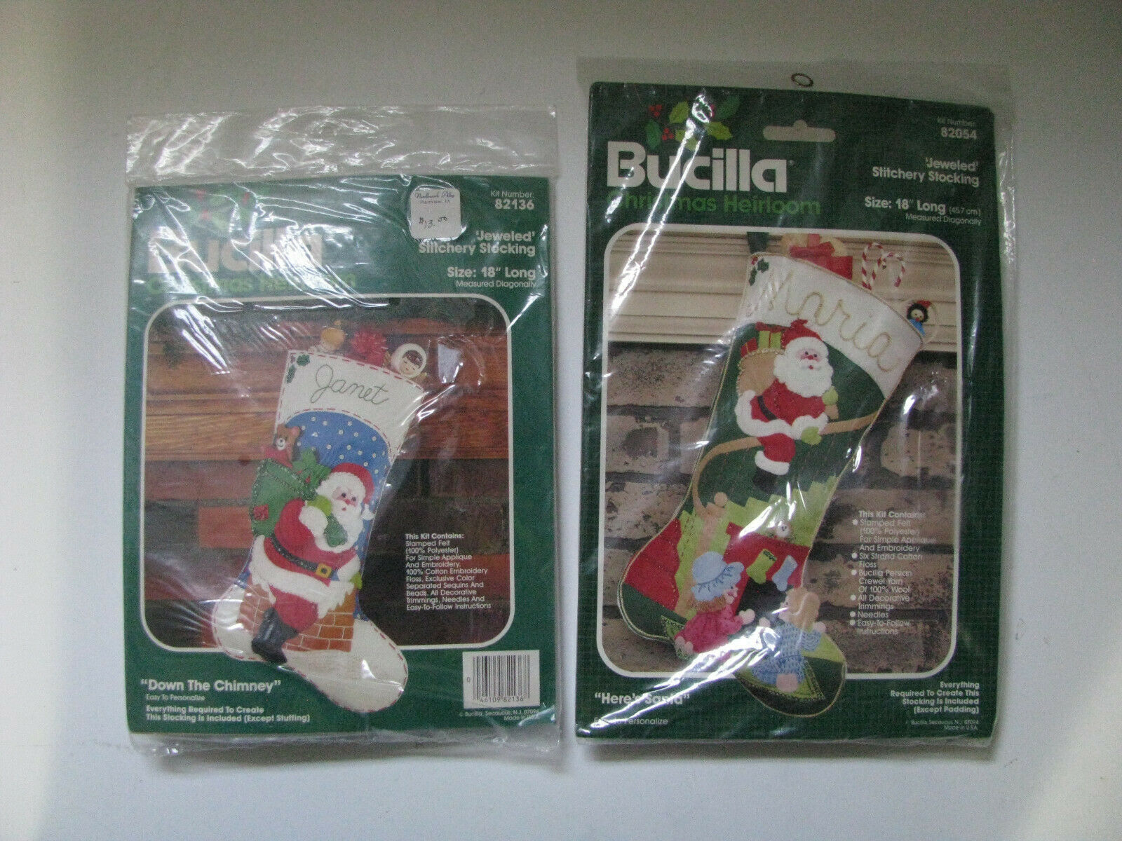 Primary image for Vintage Bucilla Christmas Heirloom Stocking Kit Lot of 2