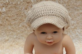 New Handmade Beige Knit Baby Brimmed Hat Cap Newsboy Cap Newborn Photo P... - $6.99