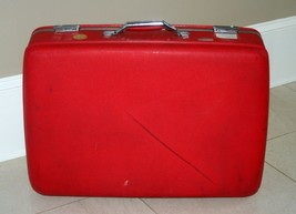 Vintage American Tourister Hardshell Red Luggage Suitcase Tiara, 70's De... - $27.69