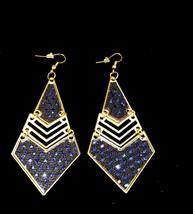 Dangling Blue Sequin Gold Earrings - $3.00