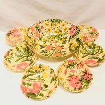 Vtg Fiberglass Salad Bowls 7 Piece Set 1960's MCM Mid Century Floral - $47.40