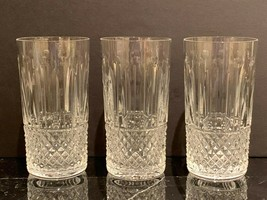 """Saint St Louis Crystal Tommy Pattern Highball Tumblers 5 1/8"""" Tall Set of 3 - $420.75"""