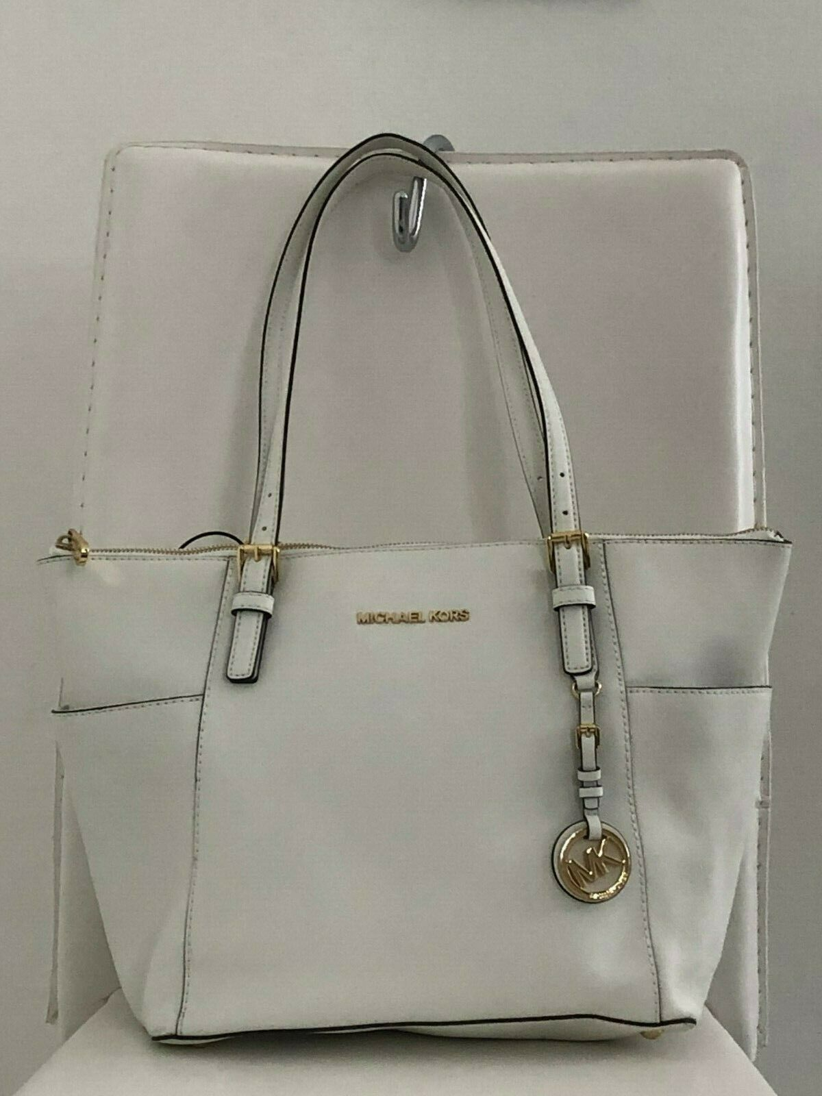 Primary image for MICHAEL MICHAEL KORS Ivory Textured Leather Top Handle Tote/Shoulder Bag $198