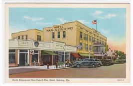 North Ridgewood Nan Cess O Wee Hotel Cars Sebring Florida linen postcard - $6.39