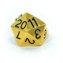 Han Cholo Silver Gold Plated Surgical Stainless Steel His/Her D20 Dice Ring NEW image 3