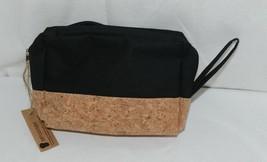 TPO Brand MP0005BK Hope Tan Cork  Black Canvas Zipper Travel Makeup Pouch Bag image 2