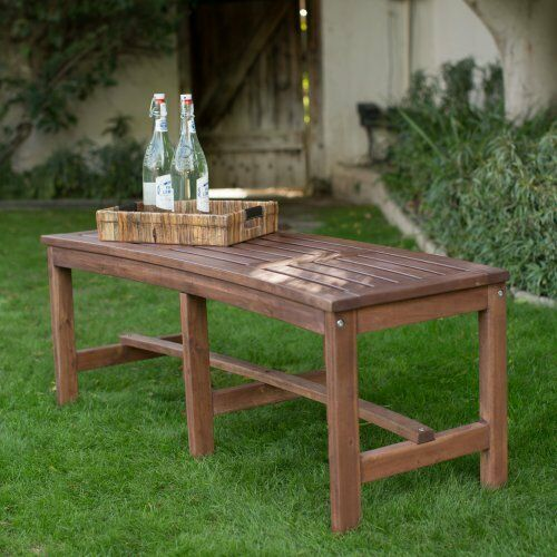 Outdoor Slatted Solid Wood Curved Fire Pit Bench Lawn Garden Yard Furniture