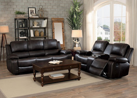 Modern Brown Faux Leather Living Room Couch Set - Reclining Sofa & Loves... - $31.657,54 MXN